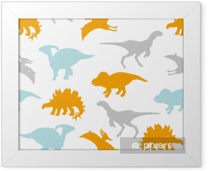 Poster i Ram Barnslig sömlös mönster med pastell dinosaurier silhuetter. vektor handgjord illustration. - Djur