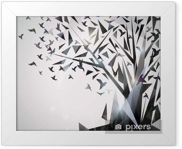 Plakat w ramie Abstrakcyjna drzewa z ptaków origami. - Tematy