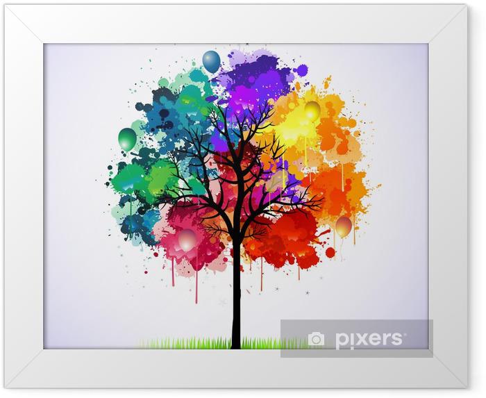 Póster Enmarcado Fondo colorido abstracto árbol - Estilos