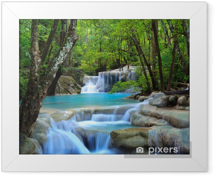 Plakat w ramie Erawan wodospad, Kanchanaburi, Tajlandia - Wodospady