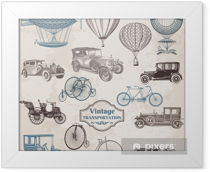 Ingelijste Poster Vector Set: Vintage Transportation - collectie van ouderwetse - Thema's