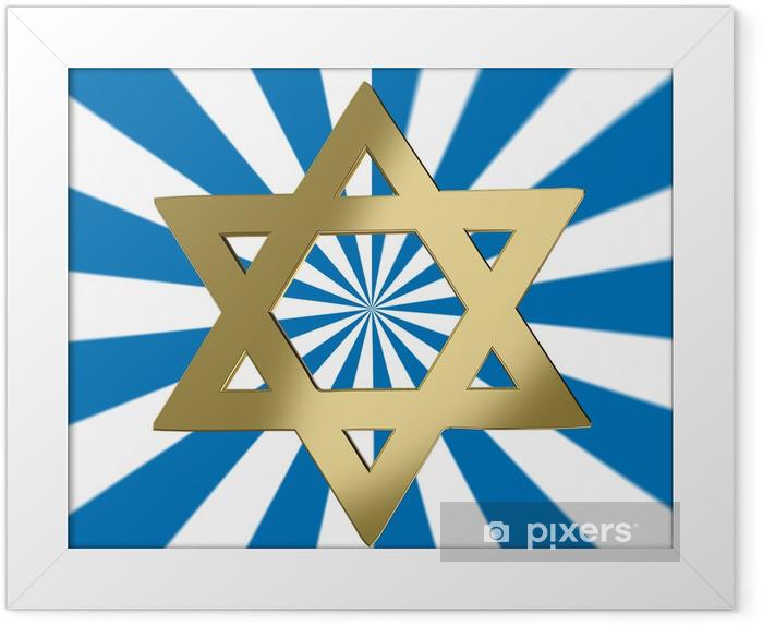 Plakat w ramie Gwiazda Dawida na tle wybuchającej - Religie