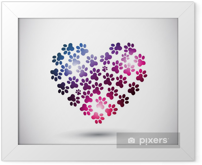 Poster en cadre Amour des animaux, patte abstraite print logo - Mammifères