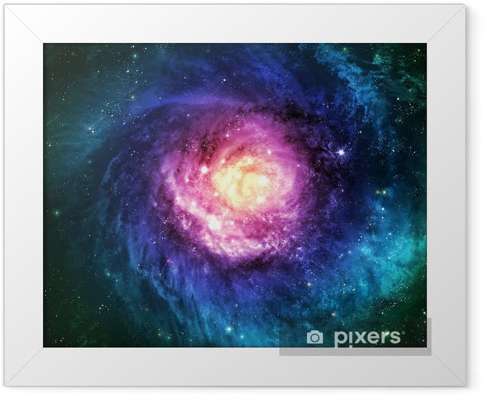 Utroligt smuk spiral galakse et eller andet sted i dybt rum Indrammet plakat -