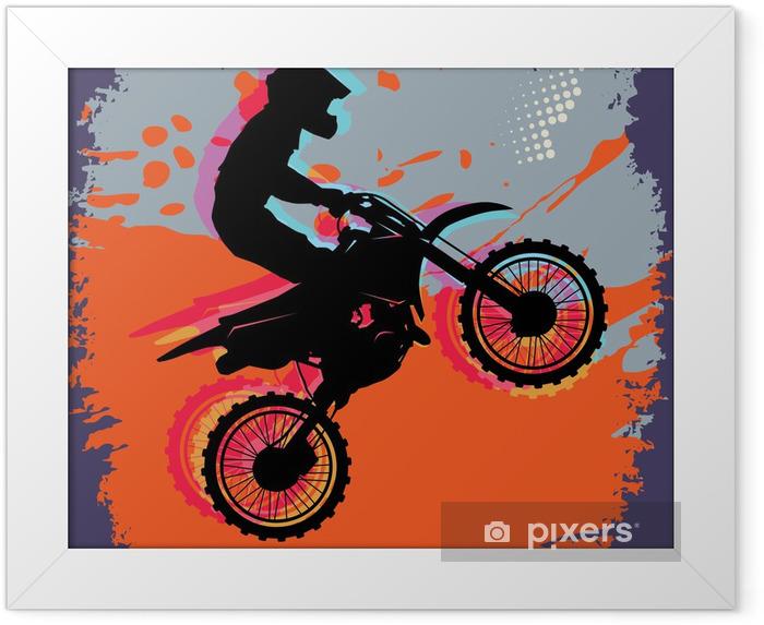 Plakat w ramie Motocross abstrakcyjny, ilustracji wektorowych - Znaki i symbole