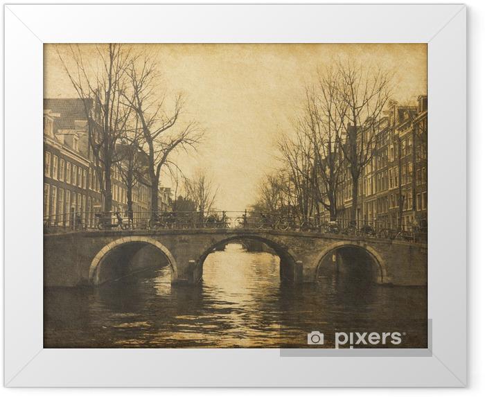 Amsterdam, Holland. Papir tekstur. Indrammet plakat - Europæiske Byer