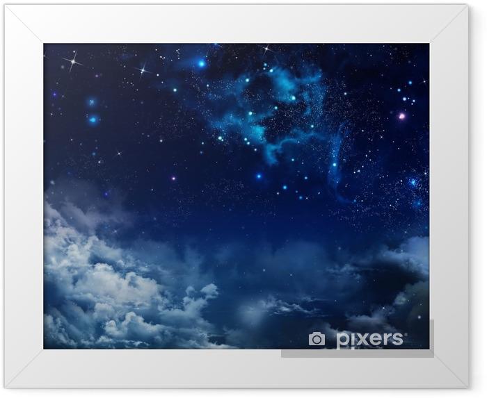 Smukke baggrund af nattehimlen med stjerner Indrammet plakat -