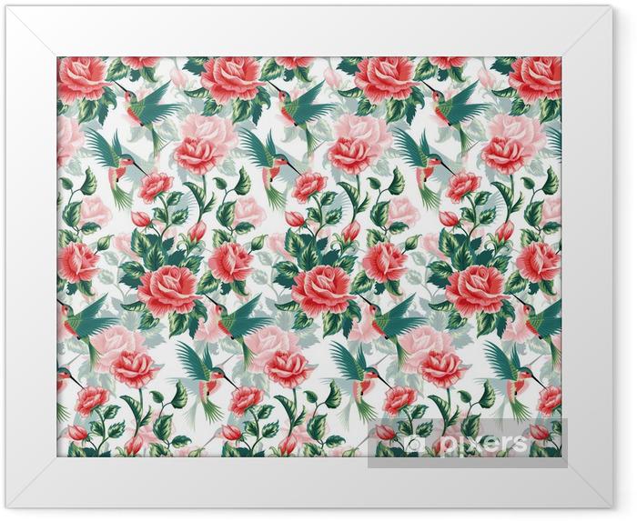 Ingelijste Poster Naadloos patroon met rozen en kolibrie. - Vogels