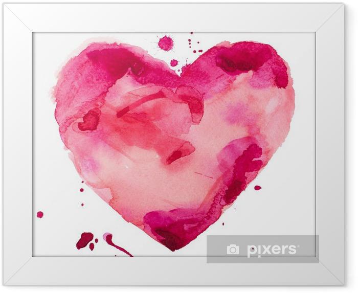 Poster en cadre Coeur d'aquarelle. Concept - l'amour, les relations, l'art, la peinture - Concept