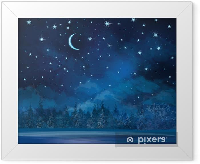 Poster en cadre Vecteur scène de nuit d'hiver, ciel et de la forêt. - Thèmes