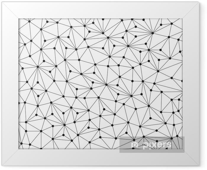 Plakat w ramie Łamana w tle, bez szwu wzór, linie i okręgi - Technologia