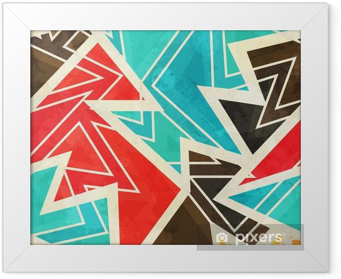 Ingelijste Poster Jeugd geometrische naadloze patroon met grunge effect - Grafische Bronnen