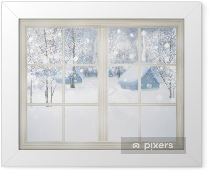 Poster en cadre Fenêtre avec vue sur l'hiver de fond neigeux. - Thèmes