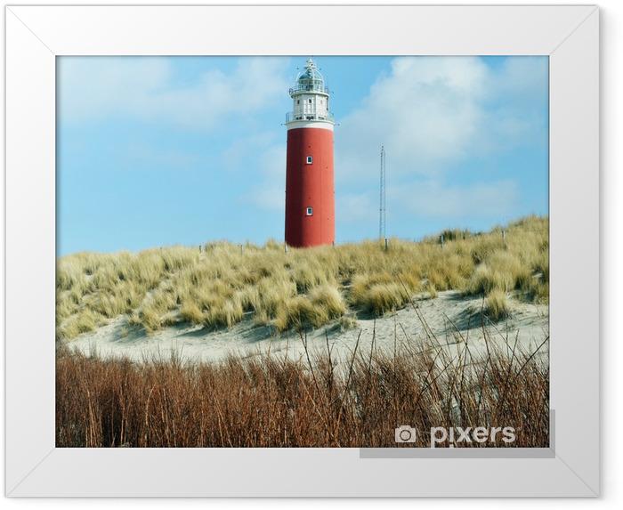 Ingelijste Poster Vuurtoren op het eiland Texel in Nederland. - Monumenten