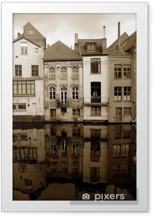Ingelijste Poster Oude huizen. Gent, België - Stedelijk