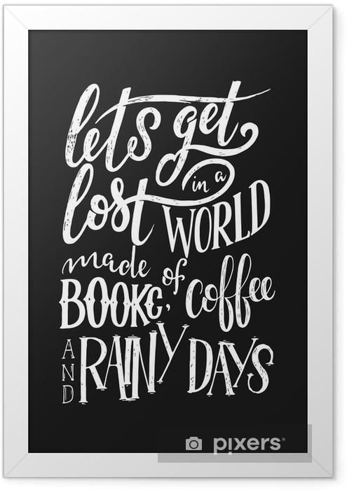 Poster in Cornice Citazione scritta a mano con schizzi per caffetteria o bar. collezione di tipografia d'epoca disegnati a mano isolato su sfondo nero - Risorse Grafiche