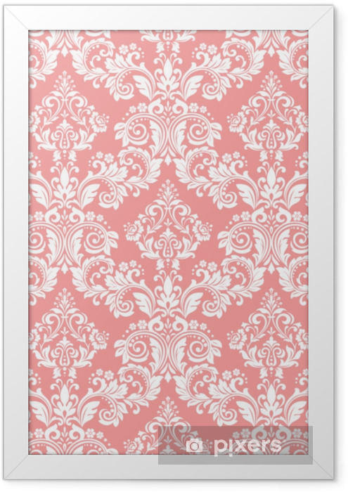 Wallpaper in the style of Baroque. A seamless vector background. White and pink floral ornament. Graphic pattern for fabric, wallpaper, packaging. Ornate Damask flower ornament Framed Picture - Graphic Resources