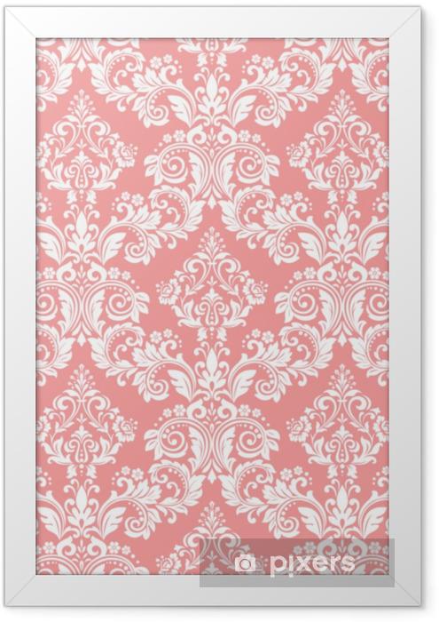 Taustakuva barokin tyyliin. saumaton vektori tausta. valkoinen ja vaaleanpunainen kukka koristeena. graafinen kuvio kangasta, tapetti, pakkaus. ornate damask kukka koristeena Kehystetty kuva - Graafiset Resurssit