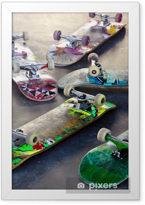 Plakat w ramie Stare deskorolki - Skateboarding