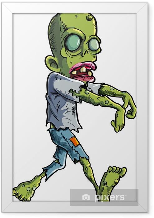 Póster Enmarcado Acecho de dibujos animados zombie auto arrancó la ropa - Temas