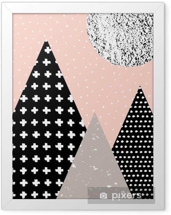 Ingelijste Poster Abstracte Geometrische Landschap - Grafische Bronnen