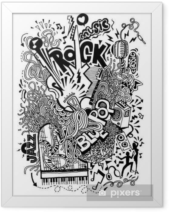 Póster Enmarcado Gráfico de la mano del Doodle, Collage con instrumentos musicales - Recursos gráficos