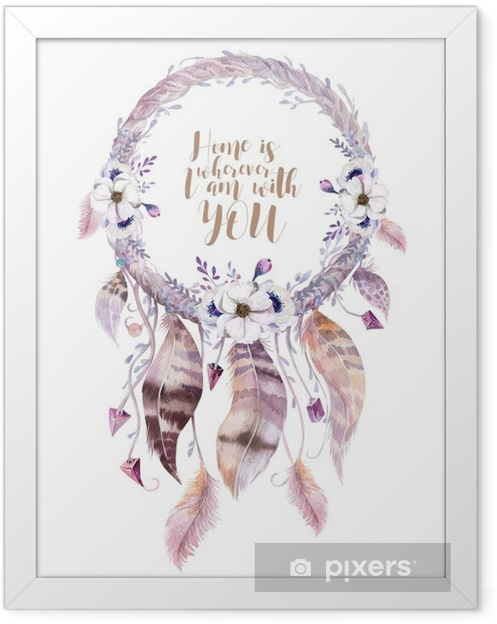 Ingelijste Poster Geïsoleerde Aquarel decoratie bohemien dreamcatcher. Boho ve - Bloemen en Planten