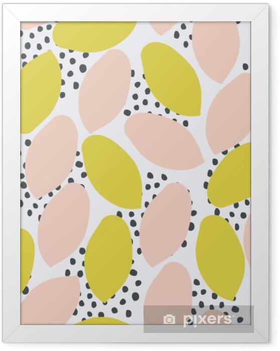 Plakat w ramie Abstrakcyjny wzór bez szwu w kolorze zielonym, brzoskwiniowym i czarnym na białym tle. - Zasoby graficzne
