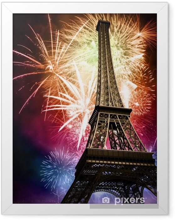 Ingelijste Poster Eiffel met vuurwerk - Thema's