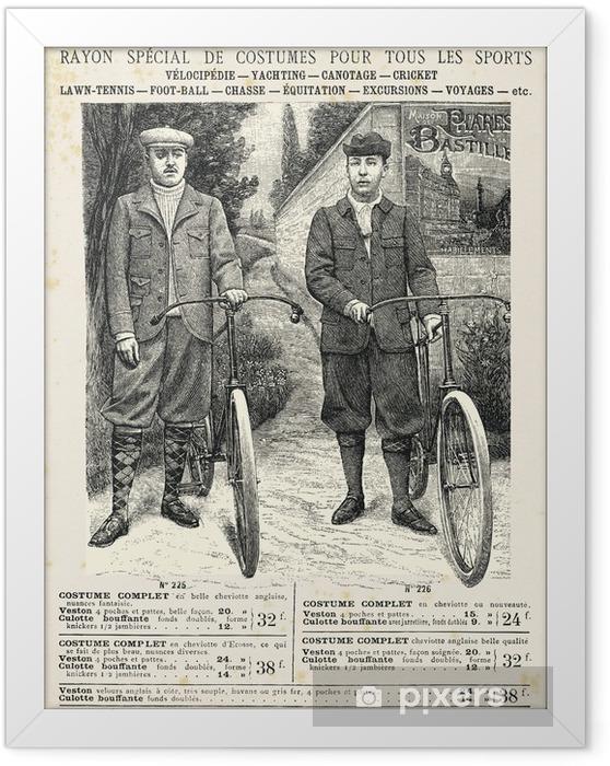 Ingelijste Poster Twee mannen met de fiets pak - Onderweg