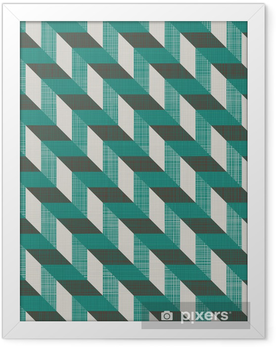 seamless retro pattern with diagonal lines Framed Picture - Backgrounds