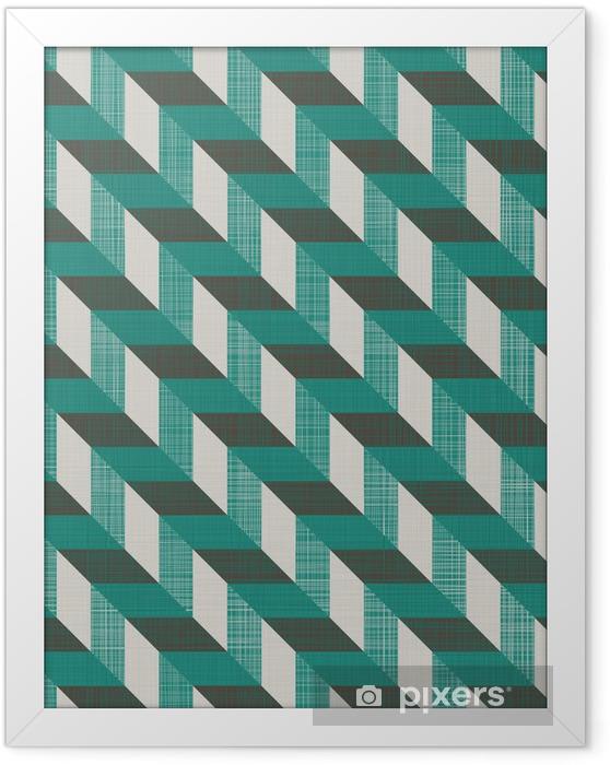 Obrazek w ramie Szwu retro wzór z linii ukośnych - Tła