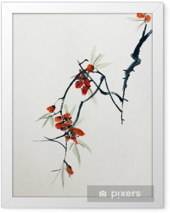 Ingelijste Poster Bloeiende sakura - Hobby's en Vrije tijd