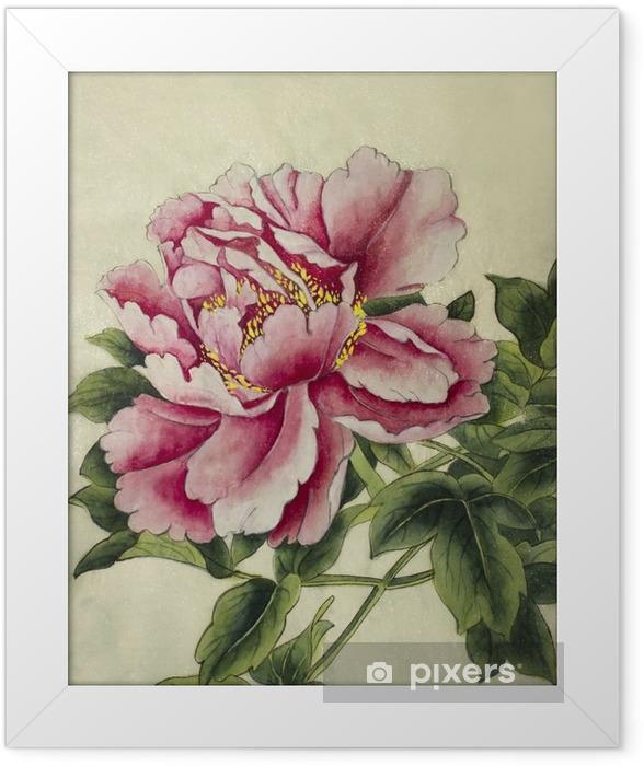 Poster en cadre Rose fleur de pivoine - Plantes et fleurs