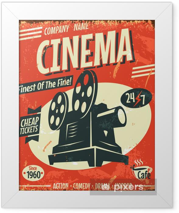 Plakat w ramie Grunge retro kinowy plakat. ilustracji wektorowych. - Style