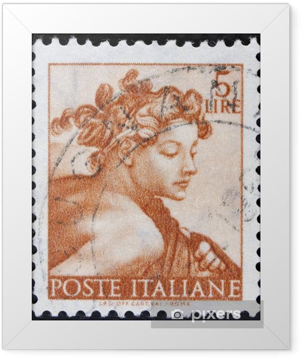 """Poster en cadre Timbre imprimé en Italie à partir de la """"Michelangelo"""" - Art et création"""
