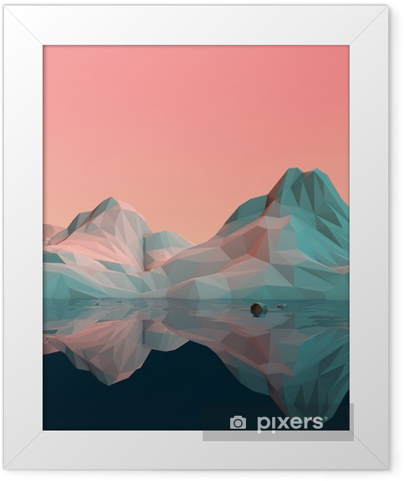 Low-Poly 3D Mountain Landscape with Water and Reflection Framed Poster - Sports