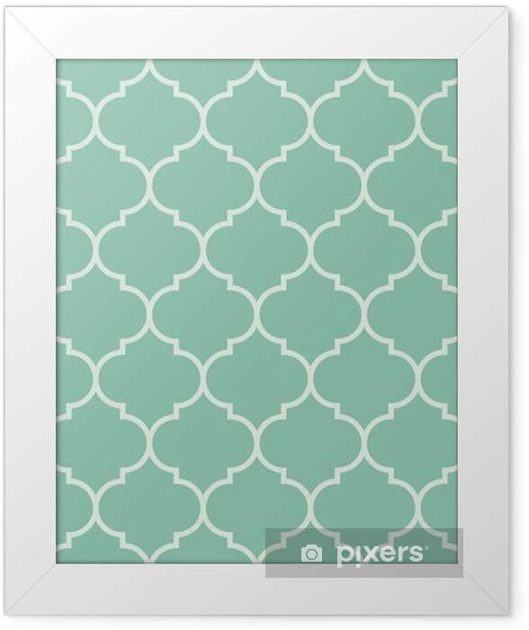 Ingelijste Afbeelding Naadloze turquoise brede marokkaans patroon vector -