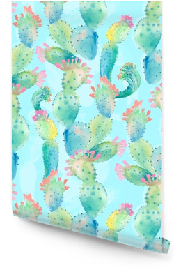Watercolor cactus seamless pattern Wallpaper roll