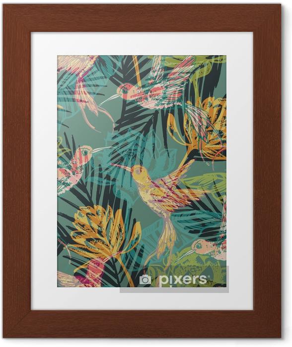 Poster en cadre Motif exotique Seamless avec des feuilles de palmier abstraites et colibri. - Ressources graphiques