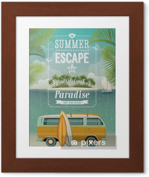 Ingelijste Poster Uitstekende mening kustposter met surfen busje. Vector achtergrond. - Stijlen
