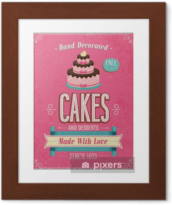 Poster en cadre Affiche vintage de gâteaux. Vector illustration. - Styles