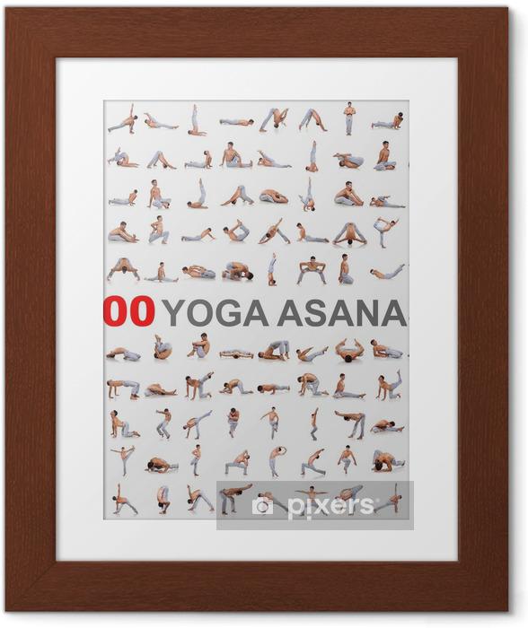 Ingelijste Poster 100 yoga houdingen op een witte achtergrond - Individuele sport