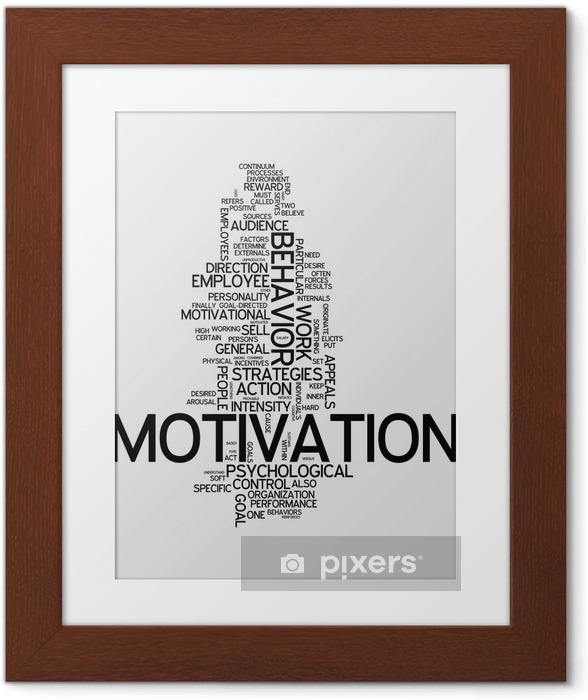 """Póster com Moldura Word Cloud """"Motivation"""" - Conceitos de Negócios"""