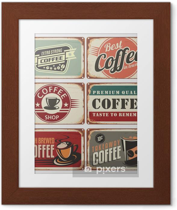 Póster com Moldura Set of vintage coffee tin signs - Estilos