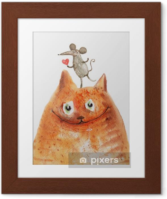 Kat med mause Indrammet plakat - Emotioner og Følelser
