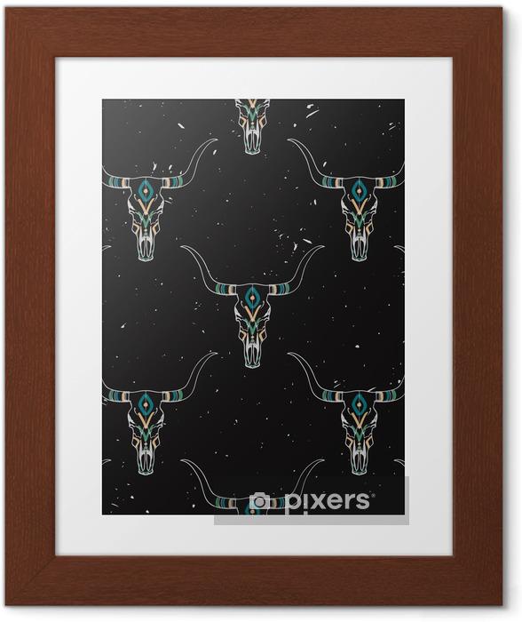 Poster en cadre Vector grunge seamless taureau crâne et l'ornement ethnique - Arrière plans