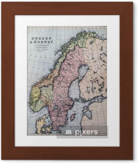 Plakat w ramie Mapa 19th Century Szwecji i Norwegii - Zasoby graficzne