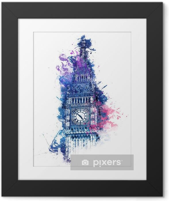 Poster en cadre Peinture colorée d'aquarelle de Big Ben - Voyages