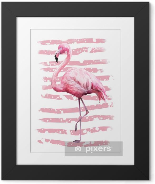 Immagine in Cornice Design di poster geometrici estate tropicale con texture grunge. uccello rosa acquerello - fenicottero. sfondo astratto esotico, vintage. illustrazione dipinta a mano. scarabocchi retrò - Animali